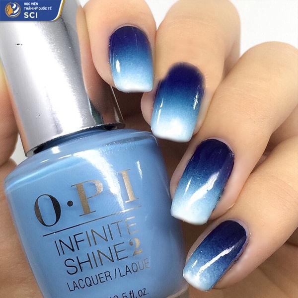 nail ombre xanh dương - hoidapnails.com
