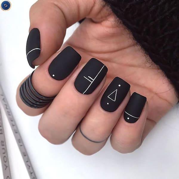 Mẫu nail lì với hoạ tiết cực kỳ đơn giản - hoidapnails.com