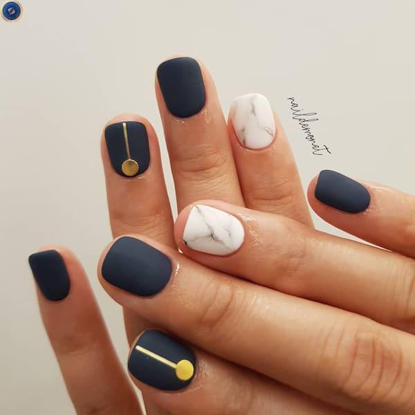 Sự kết hợp giữa màu xanh cổ vịt và hoạ tiết marble - hoidapnails.com