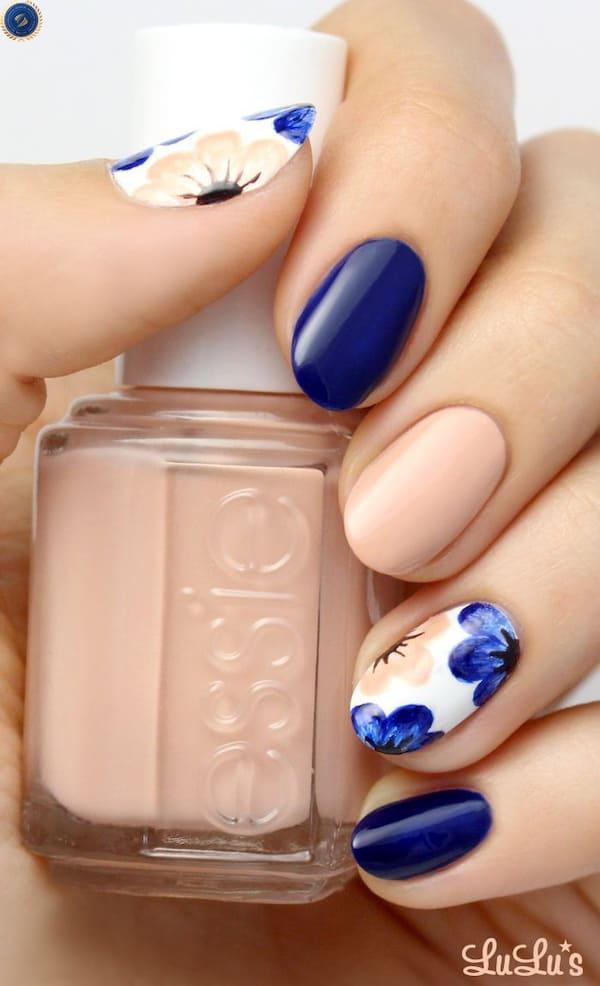 Mẫu nail tone xanh cùng nude đơn giản mà tinh tế - hoidapnails.com