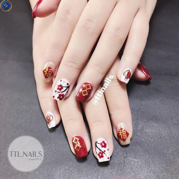 Mẫu nail cực kỳ phổ biến cho chị em đón Tết - hoidapnails.com