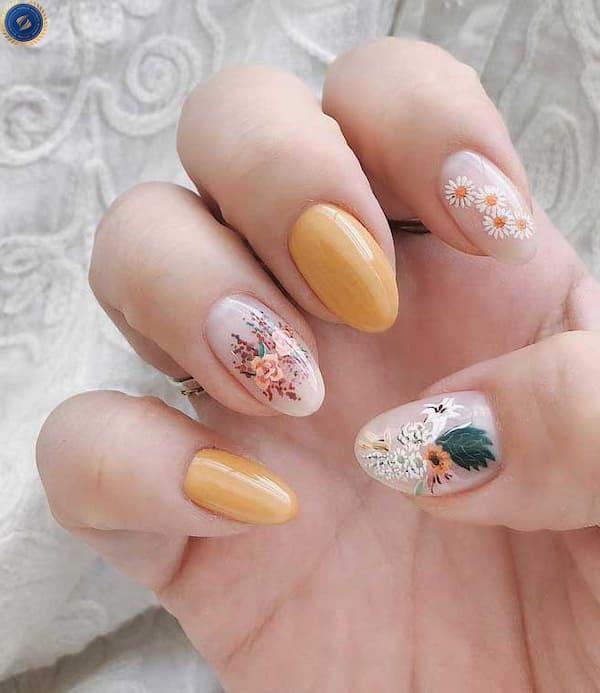 Đón tết cùng bộ nail hoạ tiết hoa xịnh xắn - hoidapnails.com