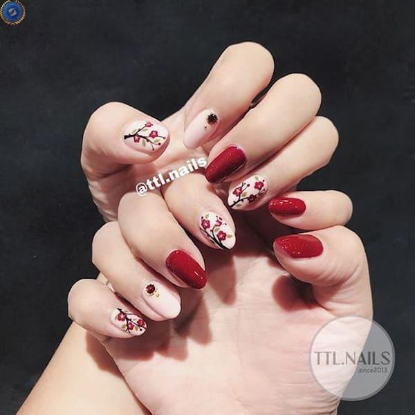 Mẫu nail vô cùng nổi bật cho ngày Tết - hoidapnails.com